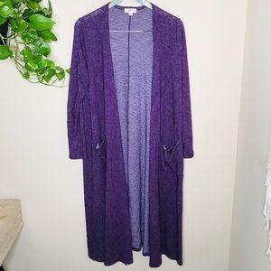Lularoe purple knitted Sarah cardigan duster